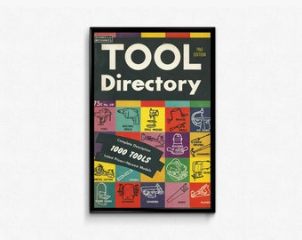Tools and Garage Sign • Handy Man Gift • 60s Garage Prop • Garage Decor For Him • Tool Directory Science and Mechanics • Colorful Wall Gift