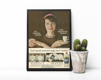 Lux Dish Soap Ad • 60s Housewife Ad • Dish Liquid Home Soap Product • Lux Liquid Squeeze Bottle • 60s Retro Kitchen Decor • Vintage Soap Ad