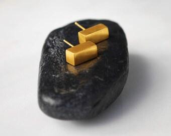 Geometric Stud Earrings, Minimalist Earrings, Brass Earrings, Gold Plated Earrings Rectangular Earrings