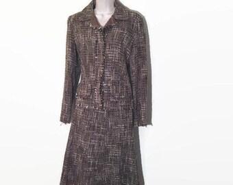 Vintage Two Piece Brown Suit, Tweed Suit Vintage, Vintage Women's Suit, Women's Clothing, Vintage Clothing, Vintage Brown Suit