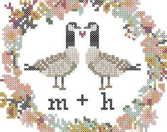 Canadian Geese Cross Stitch Pattern, Floral Border Cross Stitch Pattern