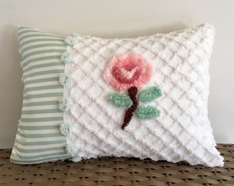 LATTICE ROSE 12 x 16 vintage chenille pillow cover, pink rose sham, cottage chic cushion cover, floral pillow, striped cushion cover