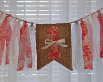 First Birthday Girl ~ 1st Birthday Coral Pink Roses Banner ~ Shabby Chic Rag Banner ~ Rag Garland Banner