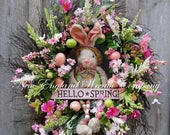 ON SALE Easter Wreath, Easter Bunny Wreath, Spring Wreath, Whimsical Easter Wreath, Victorian Easter Wreath, Designer Easter Wreath, Spring
