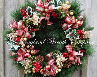 FREE SHIP THRU 12/12/16, Christmas Wreath, Holiday Wreath, Country French Christmas, xl Christmas Wreath, Designer Holiday Wreath
