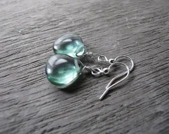 mint green earrings smooth glass teardrop silver simple bridesmaids wedding jewelry