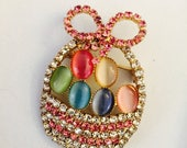 CLEARANCE Easter Basket Brooch Pastel Crystals Perfect Finishing Piece for Outfit Purse Tote Hat Scarf or Bridal Bouquet 1 3/4 x 1 2/4""