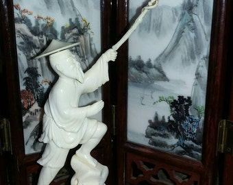 Antique\Vintage Hand Carved Chinese Fisherman Figurine ~ Bone ~ Wooden Stand ~ Too Sweet!!!