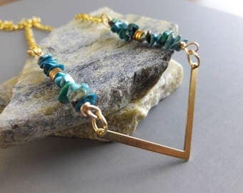 30% off any order Brass And Turquoise  Necklace