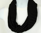 SUPER CYBER SALE Infinity Scarf Mens Single Loop Scarf Black Striped Jersey Knit for Men and Women