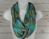 Soft Jersey Knit Infinity Scarf in Green, Olive, Grey and Blue Chevron Design Double Loop Scarf Handmade by Thimbledoodle