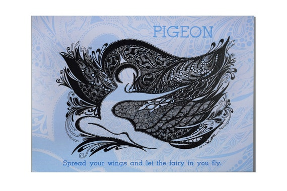 YOGA Card PIGEON  - 5x7 from Original Ink Drawing, Home Decor, Yoga Studio Decor
