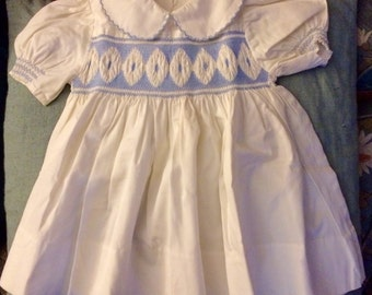 Vintage French baby girl dress with smocks