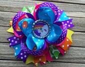Unicorn Hair Bow - 5 inch rainbow Hair Bow - Summer hair bow -  bright and colorful Hair bow - unicorn hair bow