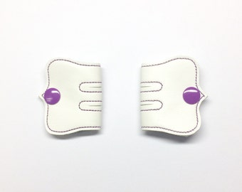 Cord Keeper, Iphone cord, Ear bud cord, Cord organizer, Purple snaps, Off White Vinyl cord keeper, Snap cord keeper, Cable organizers