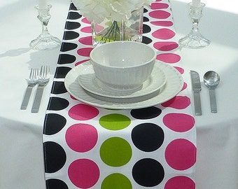 Choose your Table Runner, Pink Table Runner - Pink Wedding Linens - Black Table Topper - Large Dots Green, Pink & Black Table Runner