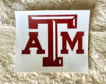 Texas A&M Decal, TAMU Decal, Aggie Sticker, Vinyl Decal, Yeti decal, Car Decal, Wall Decal, Monogram Decal