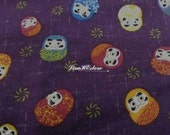 Japanese daruma dolls, purple, 1/2 yard, pure cotton fabric