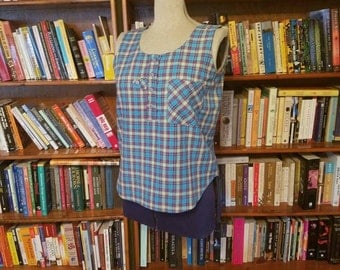 CHECKED CUTIE -- Gitano Plaid Sleeveless 1980s Summer Blouse with Sweet Details-S,M