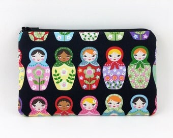 Matryoshka Doll, Small Clutch Wallet, Accessory, Zipper Pouch, Notions Bag, Gadget Case, Padded