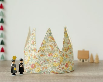 """Fabric Crown, Birthday Party Crown, Children's Photo Props, Baby/Babies/Kids/Children Crown, LIBERTY """"Claire-Aude"""" <2062>"""