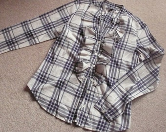 Ralph Lauren white navy checked ruffle blouse S