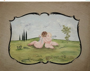 ON SALE for a week Unique  original oil painting distressed two cherubs in love