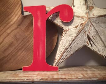 Handpainted Wooden Wall Letter - lowercase 'r' - New Times Roman - large lowercase - various colours and finishes