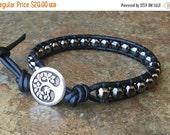 SALE Single Wrap Bracelet, Gunmetal Bracelet, Black Leather, Men's Jewelry, Layering Bracelet, Free Shipping