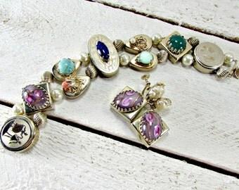 Vintage Slider Charm Bracelet Earrings Set, Pink Glass Roses, Pearl Gold Bracelet, Screw-Back Drop Earrings, 1950s Victorian Revival Jewelry