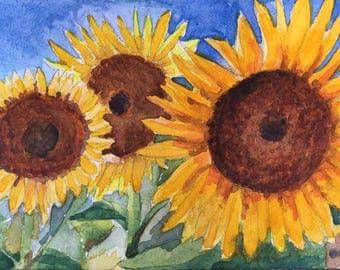 PRINT of Original Watercolor Sunflowers, Watercolor Painting Flowers, Botanical Art Print, Giclee Art Print, Room Decor Wall Art