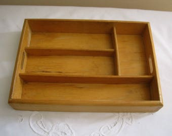 Vintage Drawer Organizer Rustic Shabby Chic Handled Tray -  Divided Hardwood Box - Office Organizer - Open Shadow Box - Wall Decor