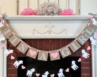 Little Lamb baby shower - Pink and White Its a Girl Banner -  Lamb Nursery Decorations - Little Lamb Banner - Baby Shower Banners