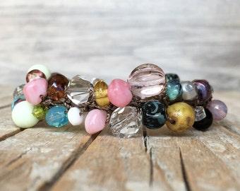Gypsy Boho Stackable Bracelet - artisan beaded bracelet - yoga boho - hippie crochet bracelet - hippie bracelet - beaded bracelet