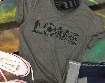LOVE Soccer V-neck shirt T-shirt Tee Player Ball Goalie Net