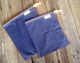 bulk food bags, fresh food bags, eco friendly 2 pack NAVY BLUE & ORANGE // handmade from repurposed curtains // recycled market bags, veggie