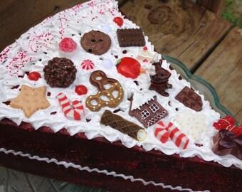 Red Velvet Christmas dummy cake slice decoden sculpture fake cake display