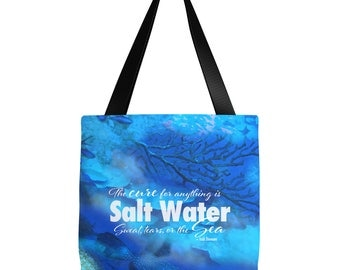 Beach Tote Bag | Sea Quote Tote Bag | Scuba Diver Tote Bag | Scuba Diver Gift | Beach Tote Bag | 16 x 16 tote bag, 18 x 18 tote bag