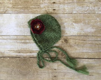 Newborn Bonnet, Hand Knit Christmas Green Bonnet with Deep Red Detachable Flower, Newborn Photography Prop, Ready To Ship, CLEARANCE