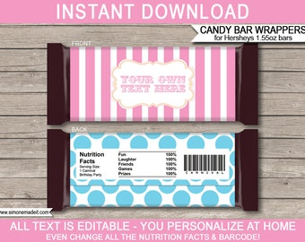 Pink Carnival Party Candy Bar Wrappers - Circus Party - Chocolate Labels - INSTANT DOWNLOAD with EDITABLE text - you personalize at home