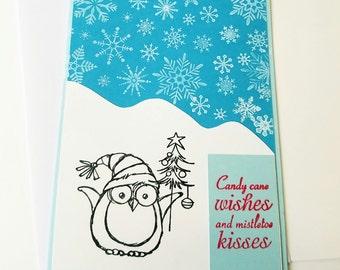 Handmade Christmas card, owl Christmas card, for anyone,  color your own Christmas card, holiday greetings