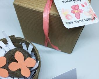 25 bridal shower garden party seed paper favors plantable seed paper boxed personalized fish. beautiful ideas. Home Design Ideas