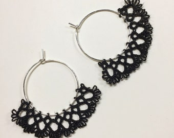 Small hoop earrings with handmade tatted lace