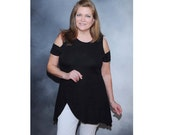 Black knit summer top with cold shoulders and handkerchief hemline