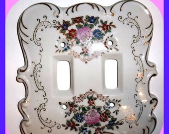 Vintage Porcelain Switch Plate Cover Double Shabby Chic, Switchplate, Wall Plate, White, Gilt, Roses, Floral