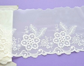 Ivory Stretch Lace, Off White Floral Lace Trim, Wedding Lace, Wedding Dress, Bridal Lingerie, Dolls, Lace Decor