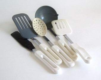 Bonny Plastic Spoon, Ladle, Spreader, Spatula 1980s Vintage Kitchen Utensils Plastic Metal
