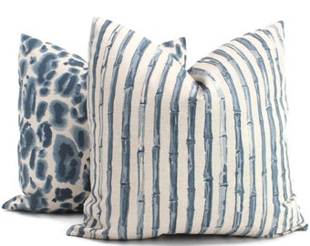 Bamboo Indigo Stripe Decorative Pillow Cover, Throw Pillow, Accent Pillow, Pillow Sham  Lacefield Textiles
