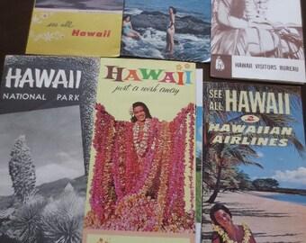 Vintage HAWAII travel Brochures Maps Tourist Travel Paper Ephemera Lot of 7