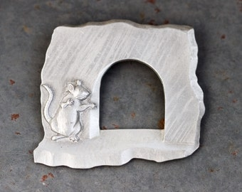 Mouse House Lapel Pin - Pewter Brooch